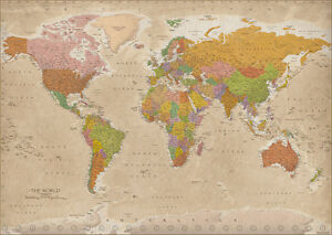 Vintage map of the world giant xxl poster print highly detailed image is loading vintage map of the world giant xxl poster gumiabroncs Images