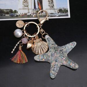 Image Is Loading Pearl Starfish Shell Tassel Keyring Keychain Crystal Purse