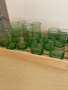 16-Vintage-Mexican-Hand-Blown-Art-Glass-Green-Tumblers-Glasses-Bubbles-Pontil