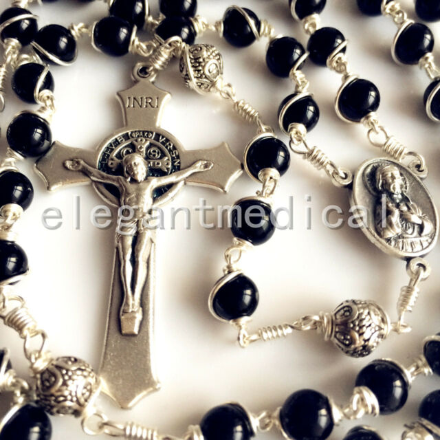 Bali 925 Sterling Silver Bead black agate Catholic gift Rosary Necklace Crucifix