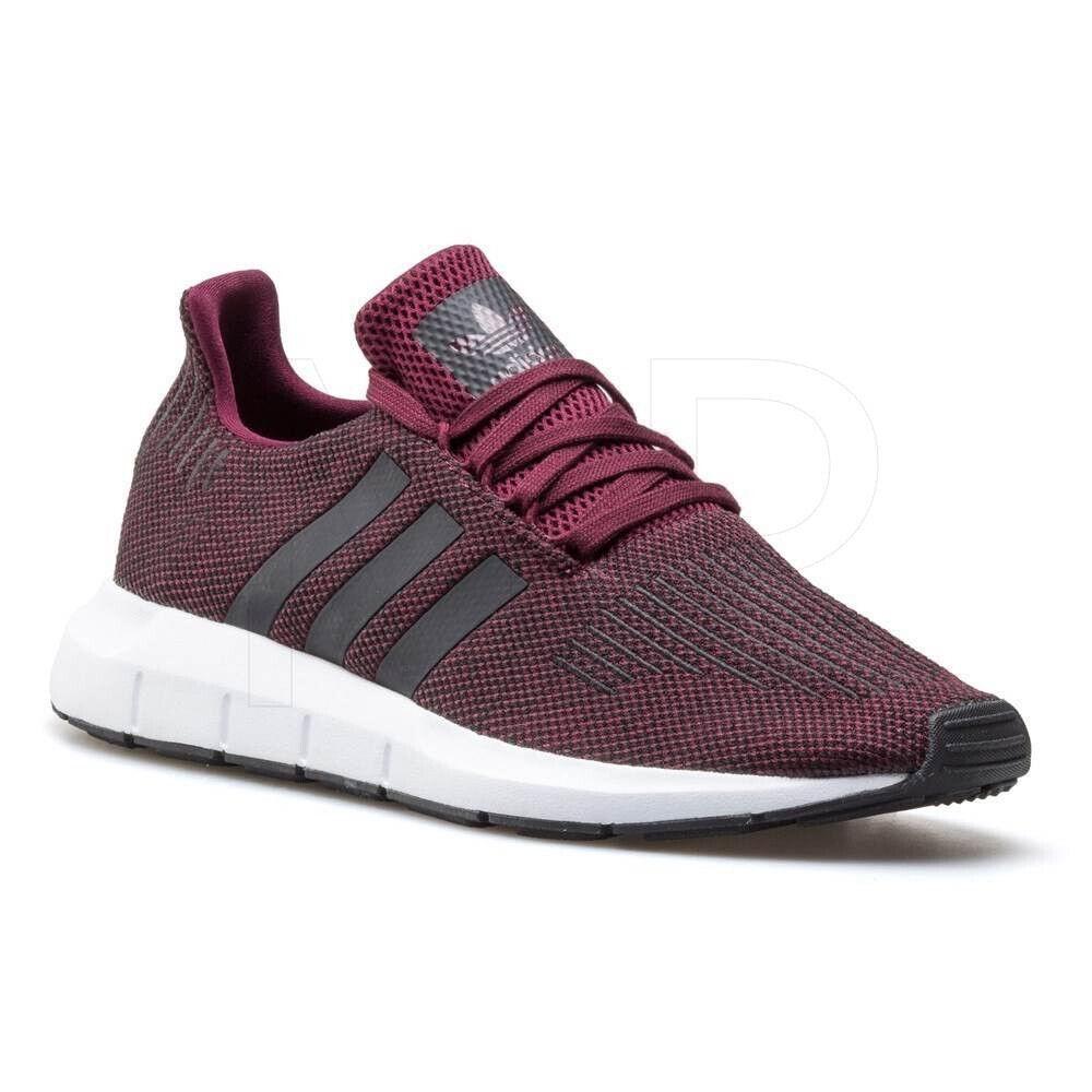 NWOB adidas Swift Run Mens Cq2118 Maroon Black White Knit Running shoes