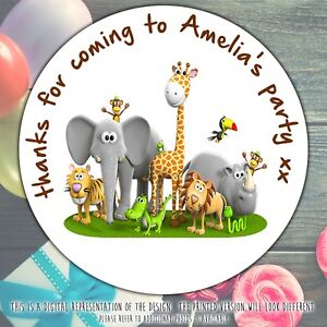 Personalised-Jungle-Birthday-Party-round-stickers-labels-party-cone-seal-sheet