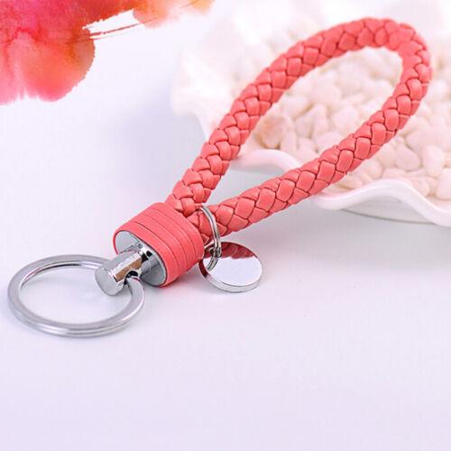 Braided PU Leather Strap Keyring Keychain Car Key Chain Ring Key Fob techno OD