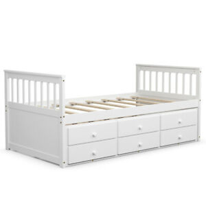 Twin Captain's Bed Bunk Bed Alternative w/ Trundle & Drawers for Kids White