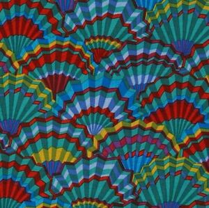 Rowan-Kaffe-Fassett-Paper-Fans-Cotton-Fabric-PWGP143-Teal-Limited-Edition-BTY