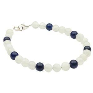 Armband-aus-echtem-Mondstein-amp-Lapis-Lazuli-amp-925-Silber-20cm-Armschmuck-Damen