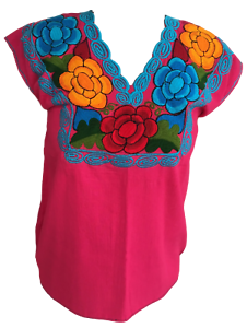Floral-Mexican-Blouse-Embroidered-Made-in-Mexico-Handmade-Cotton-Pink