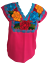 Floral-Mexican-Blouse-Embroidered-Made-in-Mexico-Handmade-Cotton-Pink thumbnail 1