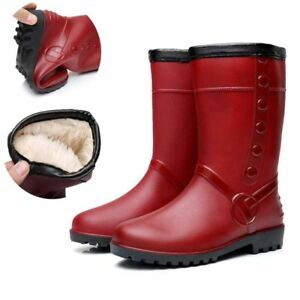 Winter-Women-039-s-Outdoor-Mid-Calf-Rubber-Rain-Boot-Fur-Lining-Waterproof-Shoe-New