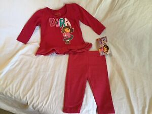 NWT Nickelodeon Girls Dora The Explorer 2-Piece Outfit Clothing Set  18 Mo 2T 3T