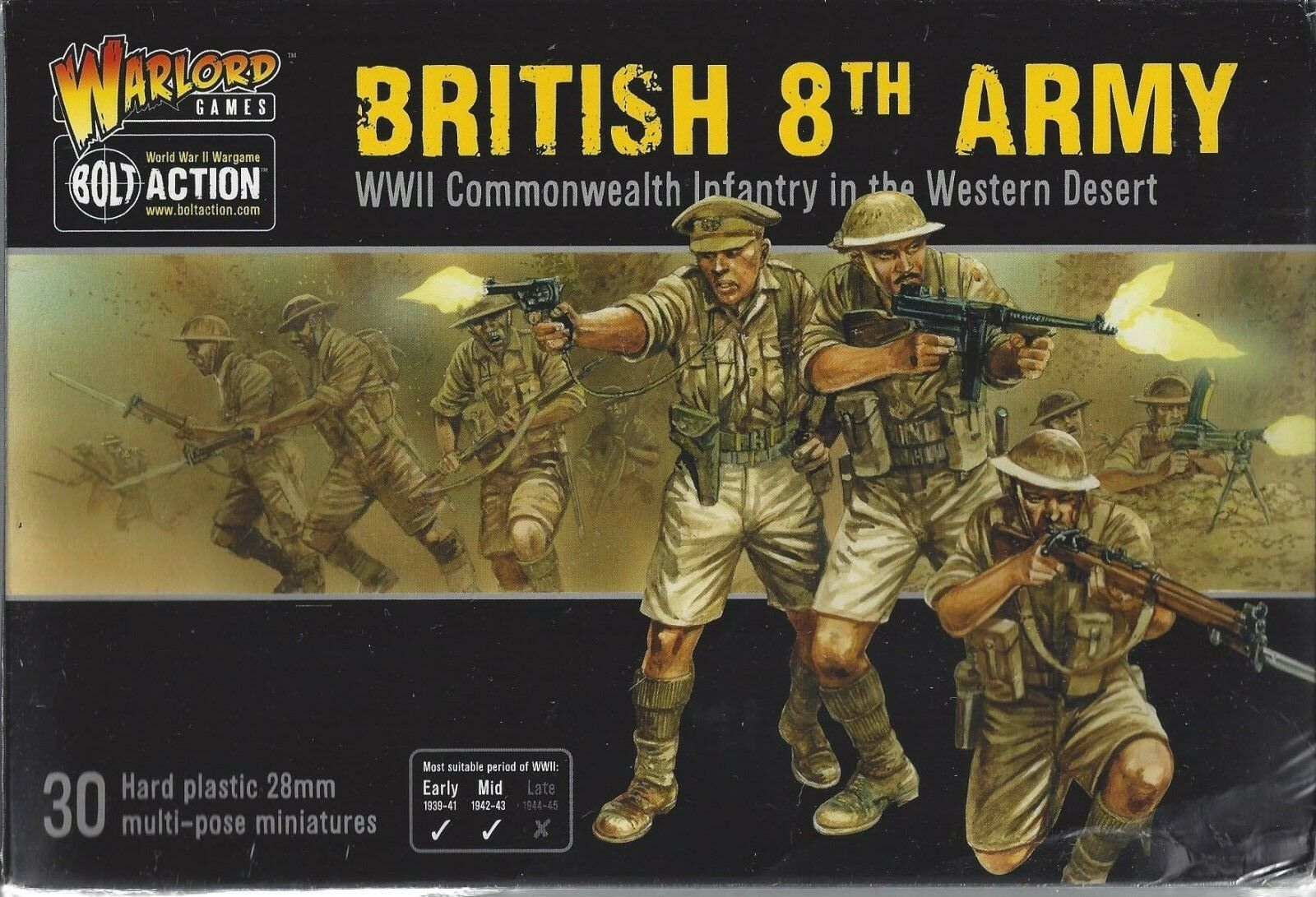 Bolt Action WW2 British 8th Commonwealth Infantry (30)  NIB  NEW Warlord Games
