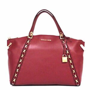 8814c89dc271 Image is loading MICHAEL-KORS-Sadie-SATCHEL-Mulberry-Red-PURSE-Leather-