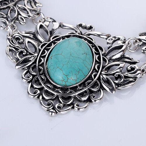 HK- Bohemian Women's Tibetan Oval Turquoise Bib Collar Necklace Earrings Jewelry Fashion Jewelry