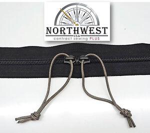 YKK Nylon Coil Zipper Tape # 5 White 5 yards with 5 Nickle Zipper Sliders