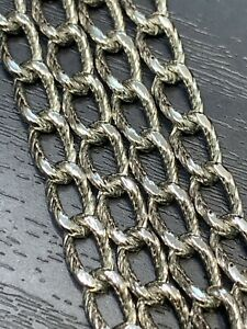 VINTAGE-Monet-Silver-Tone-Textured-Chain-54-LONG-NECKLACE-SIGNED
