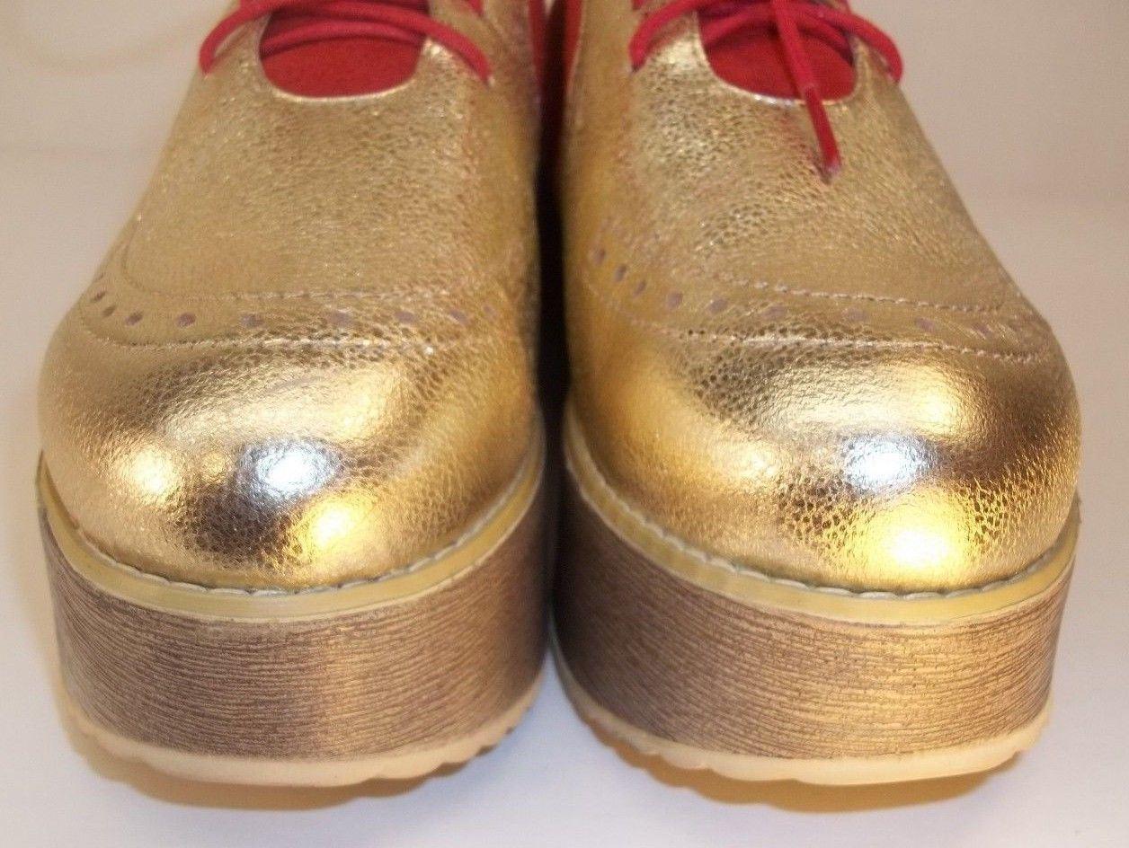 Flowcy Wos Zapatos EE. UU. 6 Rojo Cuero Rojo 6 GAMUZA ORO PLATAFORMA Oxford Anime Cosplay 5906 6c4df6