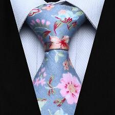 """TMF205B7 Blue Beige Pink Floral 2.75"""" Cotton Jacquard Woven Men Tie Necktie"""