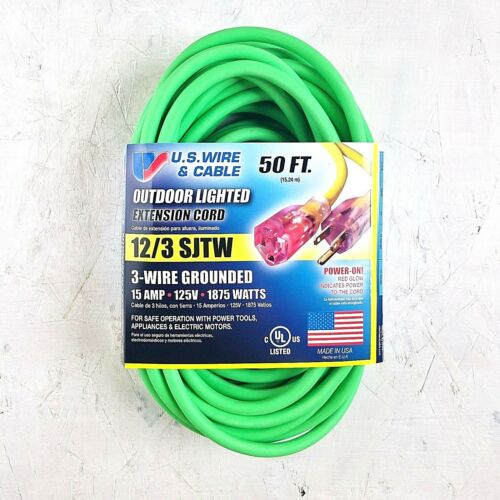 50/' 12 Gauge Fluorescent Green Extension Cord w Lighted End MADE IN USA
