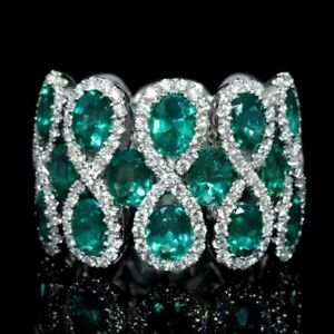Gorgeous-Women-8-Shaped-Emerald-925-Silver-Jewelry-Wedding-Ring-Size-6-10