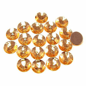 Acryl-Strass-Steine //Schmucksteine z.Aufkl 20 Stück groß Rund Ø15 mm gelbgold