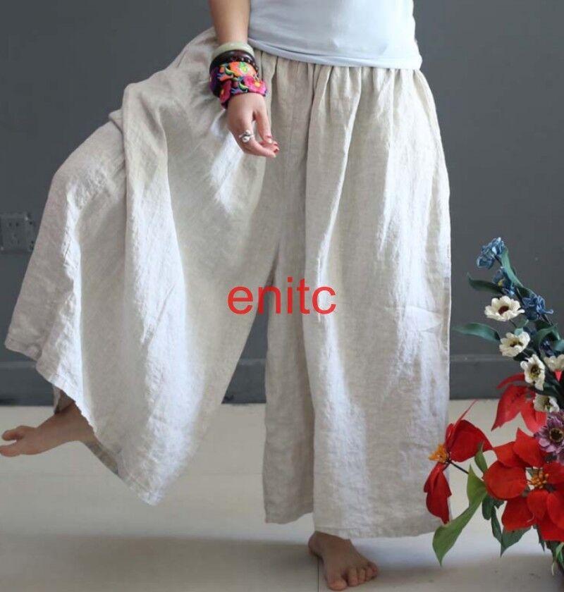 Womens Ladies Loose Wide Leg Pants Cotton Linen Long Pants Trousers Yoga Pants