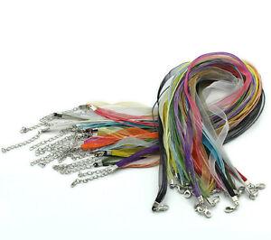 L-P-Mix-Organza-Band-Wachs-Schnur-Halskette-Halsband-43-2cm