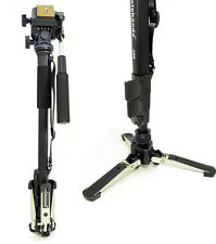 Camera Aluminium Monopod Fluid Video Head with Folding Three Feet Support Stand