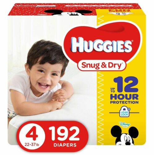 Eco.. 192 Count HUGGIES Snug /& Dry Baby Diapers New fits 22-37 lbs. Size 4