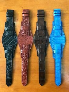 Genuine-Crocodile-Alligator-Skin-Leather-Bund-Watch-Strap-Band-18mm-24mm