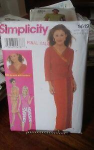Oop-Simplicity-9619-misses-knit-wrap-top-skirt-pants-learn-borders-sz-6-12-NEW