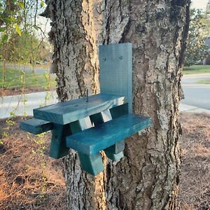 Squirrel-Feeder-Picnic-Table-BLUE-in-Color-Solid-Wood-Made-In-USA