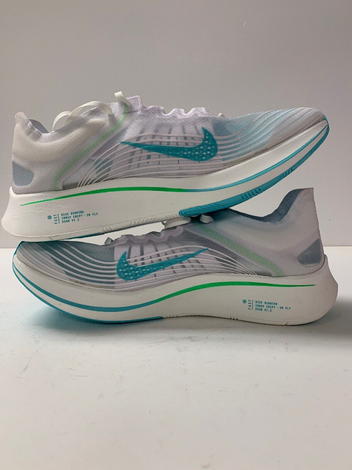 NIKE ZOOM FLY SP RUNNING SHOES WHITE RAGE GREEN MEN SIZE 11 NEW AJ9282-103