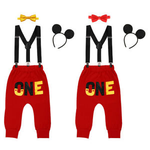 Baby Boys 1st Birthday Party Cake Smash Outfits Clothes Mickey Mouse Costume Set