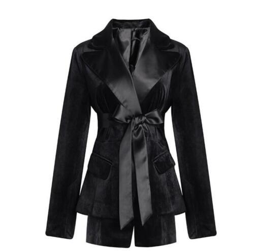 giacca T964 slim con in cintura velluto donna alta giacca da nero outwear formale Giacca pg1qw48Oq
