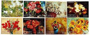 Bhutan-8-Assorted-Embossed-Flowers-Painting-Fine-Paintings-Flowers-IN-3D-52m94b
