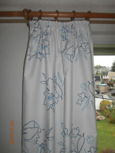Details zu Schal, Gardine, Vorhang, Übergardine, Schlafzimmer, blickdicht,  weiß, blau,