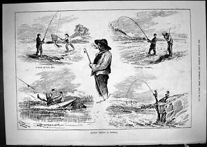 Old Antique Print 1881 Salmon Fishing Norway River Boat Angling Fishermen 19th
