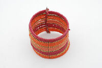 Coral Seed Beads And Gold Bracelet