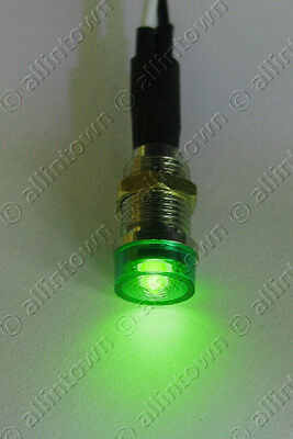GREEN LED 12V PILOT DASH INDICATOR LIGHT LAMP TURN SIGNAL WARNING TOGGLE LIGHTS