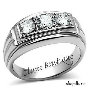 Men-039-s-Round-Cut-Cubic-Zirconia-Silver-Stainless-Steel-316-Ring-Size-8-14