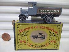 Lesney Matchbox Yesteryear Y6A OSRAM LAMPS 1916 DARK GREY AEC LORRY Original Box