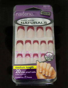 Nailene False Nail Tip French Manicure Red Tips With Flower Design