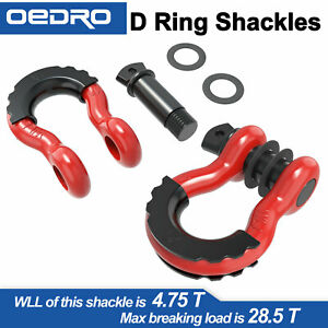 "3/4"" D-Ring Red Bow Shackles W/ Black Isolators Washer Clevis Kit 4.75 Ton"