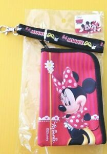 Disney-Minnie-Mouse-Lanyard-w-Detachable-Coin-Purse-Bright-Graphics-on-Red-Black