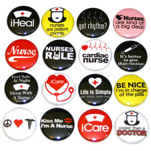 NURSES-NURSING-BADGES-x16-Buttons-Pins-Badge-Lot-32mm