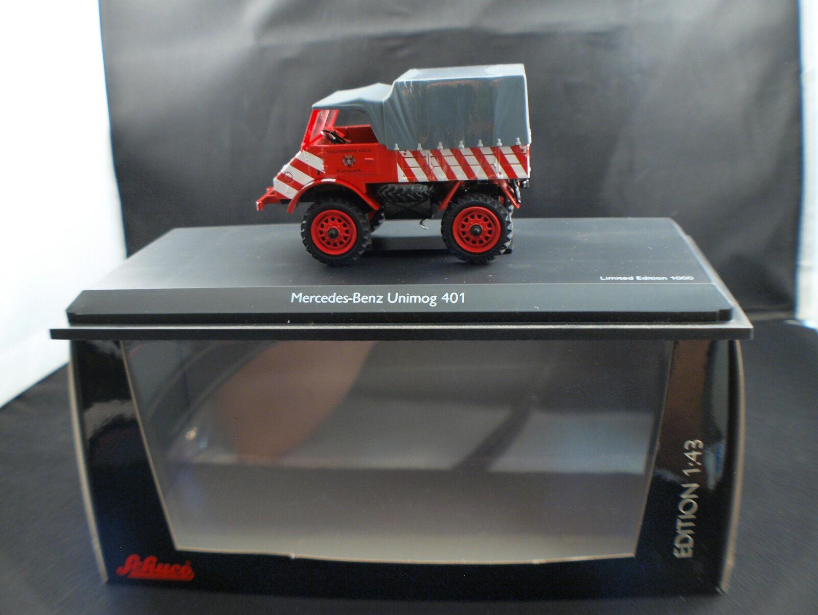 Schuco 03109 camion Pompiers Mercedes-Benz Unimog 401 Stadtwerke Köln 1 43 mint