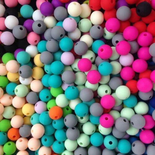 20PCS Silicone Beads Teething Necklace Baby DIY Safe Nursing Round Rainbow Hot