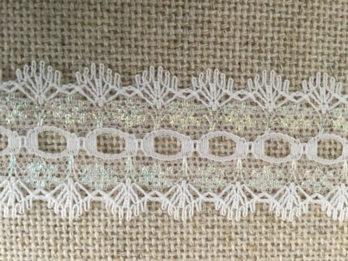 IRIDESCENT WHITE IRIS 5 METRES Dovecraft KNITTING IN EYELET LACE 35mm Wide