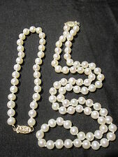 AMAZING VINTAGE 14K GOLD GENUINE CULTURED PEARL NECKLACE & BRACELET SET ESTATE