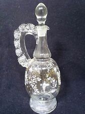 Pretty Victorian Glass wine Decanter hand decorated enameled flowers